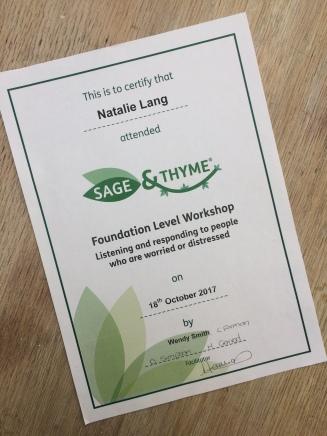 SAGE & THYME- Foundation level workshop. cert