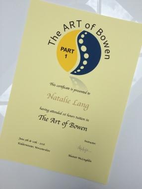 Artof bowen Certificate